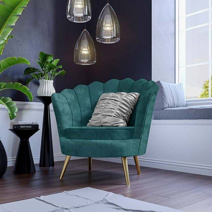Chantal Duck Egg Velvet Accent Chair & Coffee Table Bundle-lifestyle