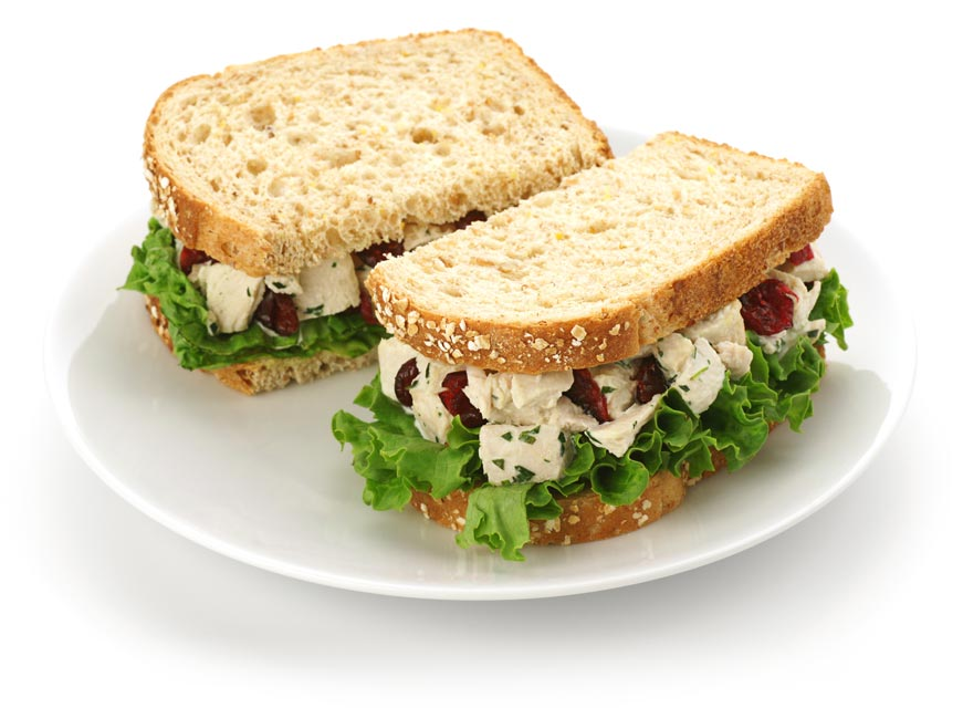 Cherries complement chicken salad well.