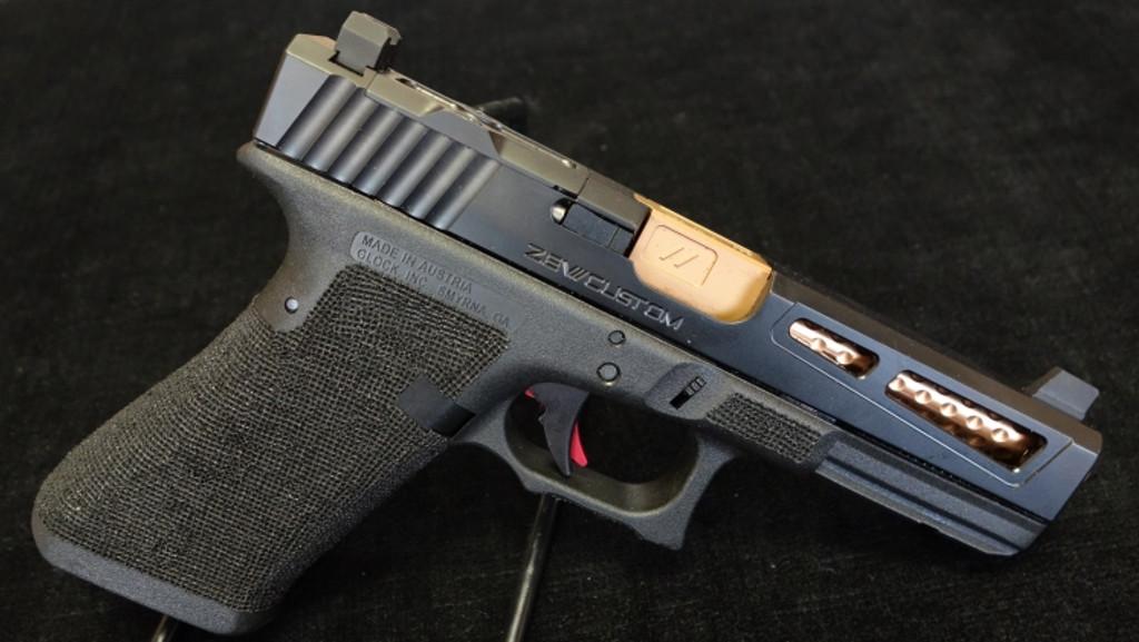 Glock 17 aftermarket modification by ZEV Customs - PrizeFighter Black Slide RMR Cut