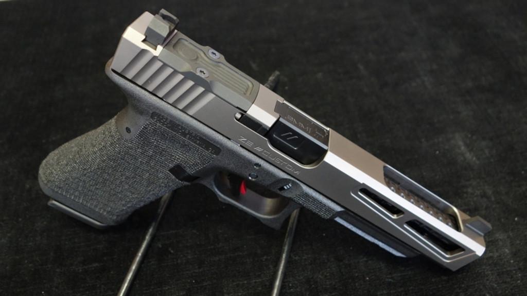 Glock 34 aftermarket modification by ZEV Customs - PrizeFighter BLACK Slide RMR Cut