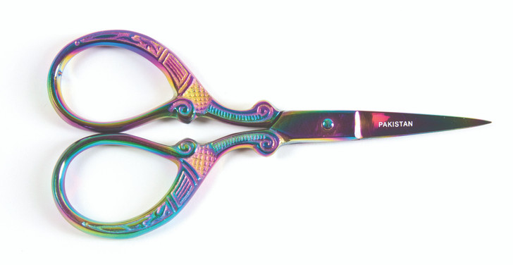 Rainbow Designer Series - Premium Embroidery Scissors. Titanium oxide finish.  Stainless steel.  For needleart and/or sewing.