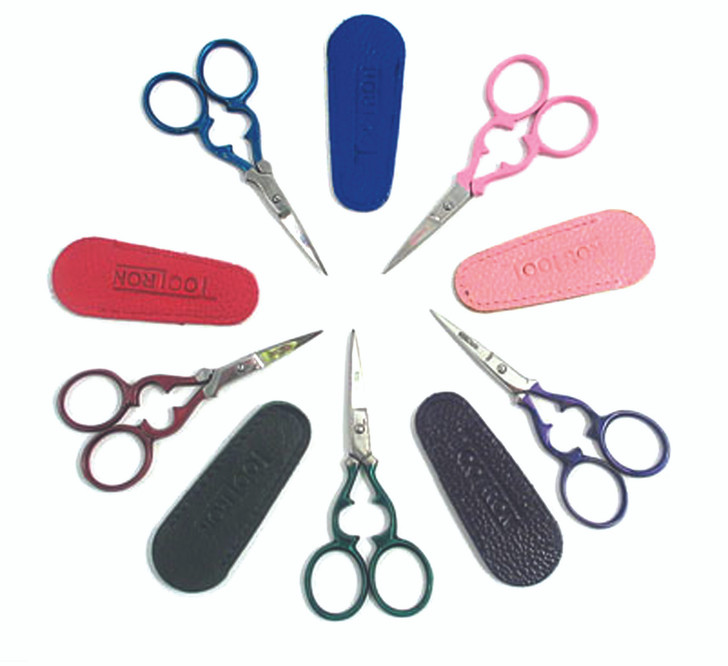 """3 1/2"""" Victorian Embroidery Scissors. With Red, Pink, Blue, Green or Purple Handles (includes matching color leather sheath)."""