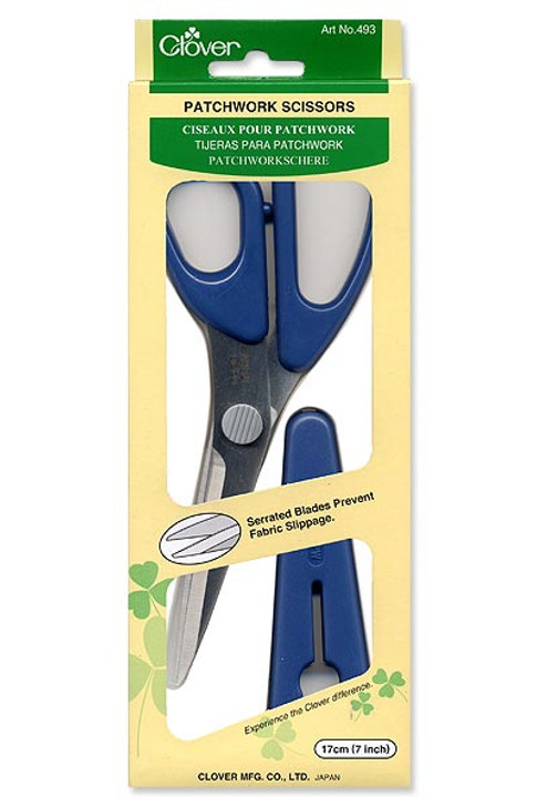 The serrated edge provides easy cutting as fabrics are held in place without slipping.  Easily cuts through multiple layers of fabric including cutting pieces for patchwork projects.