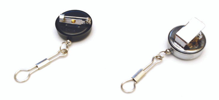 Pin reel for holding small scissors, pens and other light objects.  Expands to 16 inches.  Never misplace your scissors again.