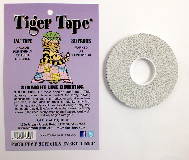 1/4 inch Tape, 30 yards.  A Guide for Evenly Spaced Stitches - 9 Lines Per Inch