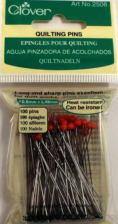 100 pins.  Heat resistant glass head suitable for ironing.  Long and sharp pins (0.6mm x l48mm) excellent for quilt works.