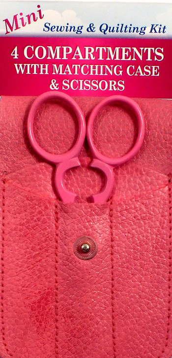 Mini Sewing & Quilting Kit with 4 compartments.  Scissors included.  Genuine leather.  Comes with a matching case.  Store all of your favorite notions - needle case, seam ripper, buttonhole cutter.  fits neatly in your purse.