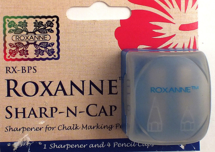 Roxanne Sharp-N-Cap is a great sharpener for chalk marking pencils.  Contains 1 sharpener and 4 pencil caps.