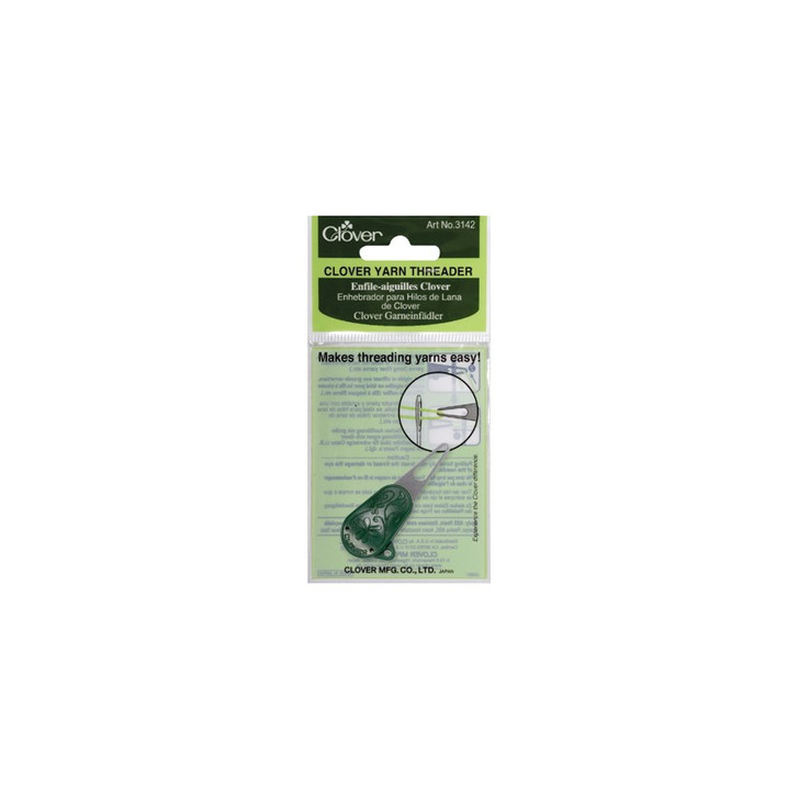 A firm flat threader with a large opening, this product is ideal for hard-to-thread yarms (long fiber yarns, etc.)