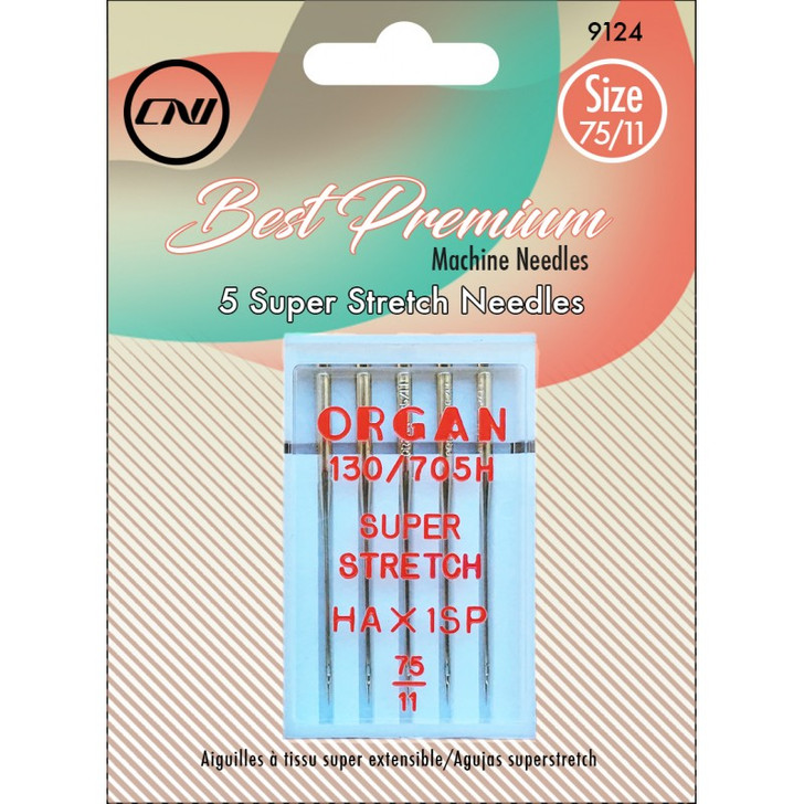 The Super Stretch Needle is designed to sew on highly elastic, synthetic and knit fabrics. It is distinguished by its medium ball point, deep scarf and a uniquely shaped eye that holds the thread in position to prevent skipped stitches.