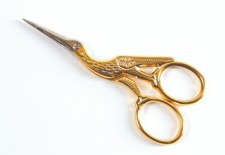 Grandma's favorite large stork scissor.  6.5 inch in length.  Stainless with half gold finish.  Large finger rings.  For all sewing and quilting projects.  Precise cut.