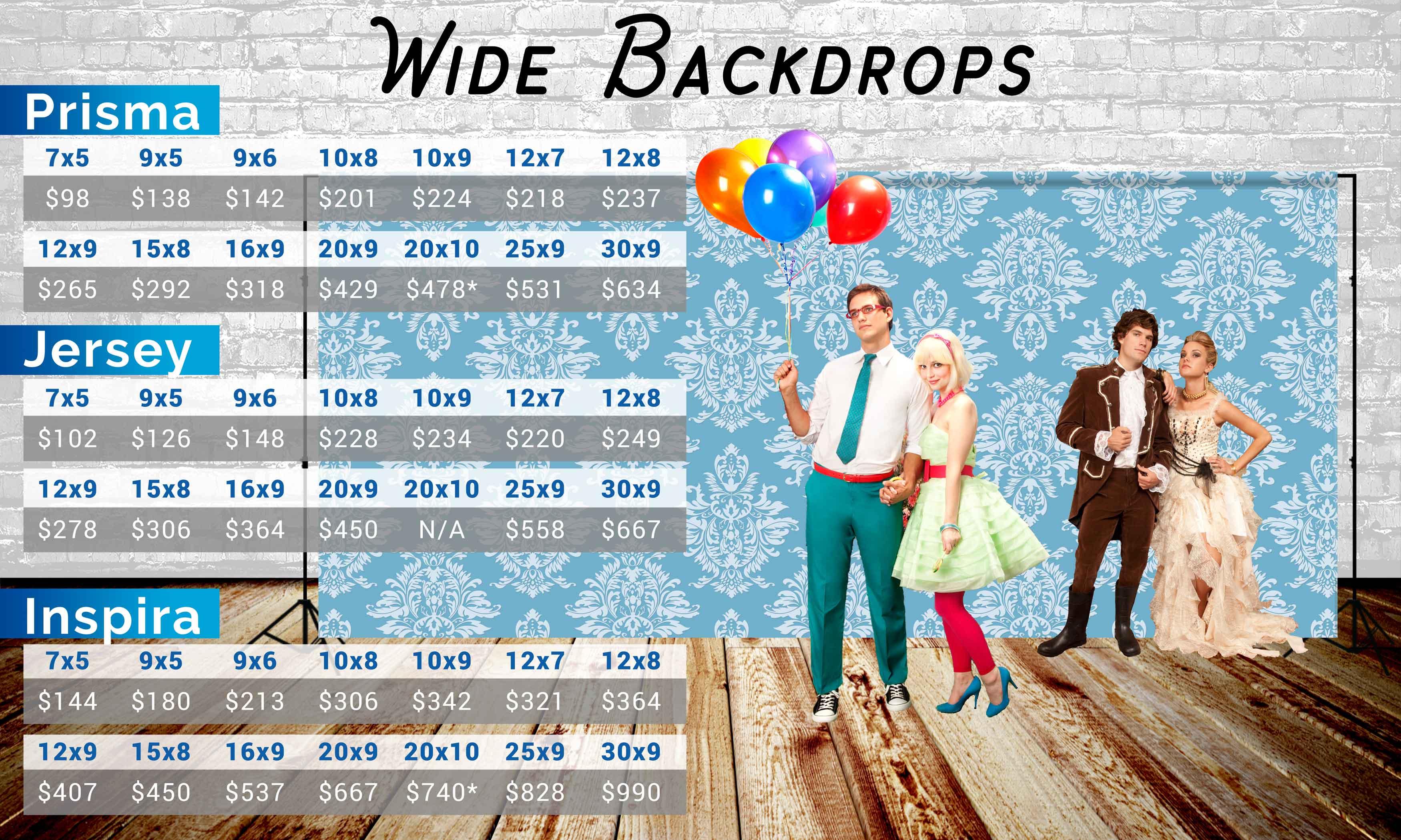 Photo Pie Wide Backdrop Prices