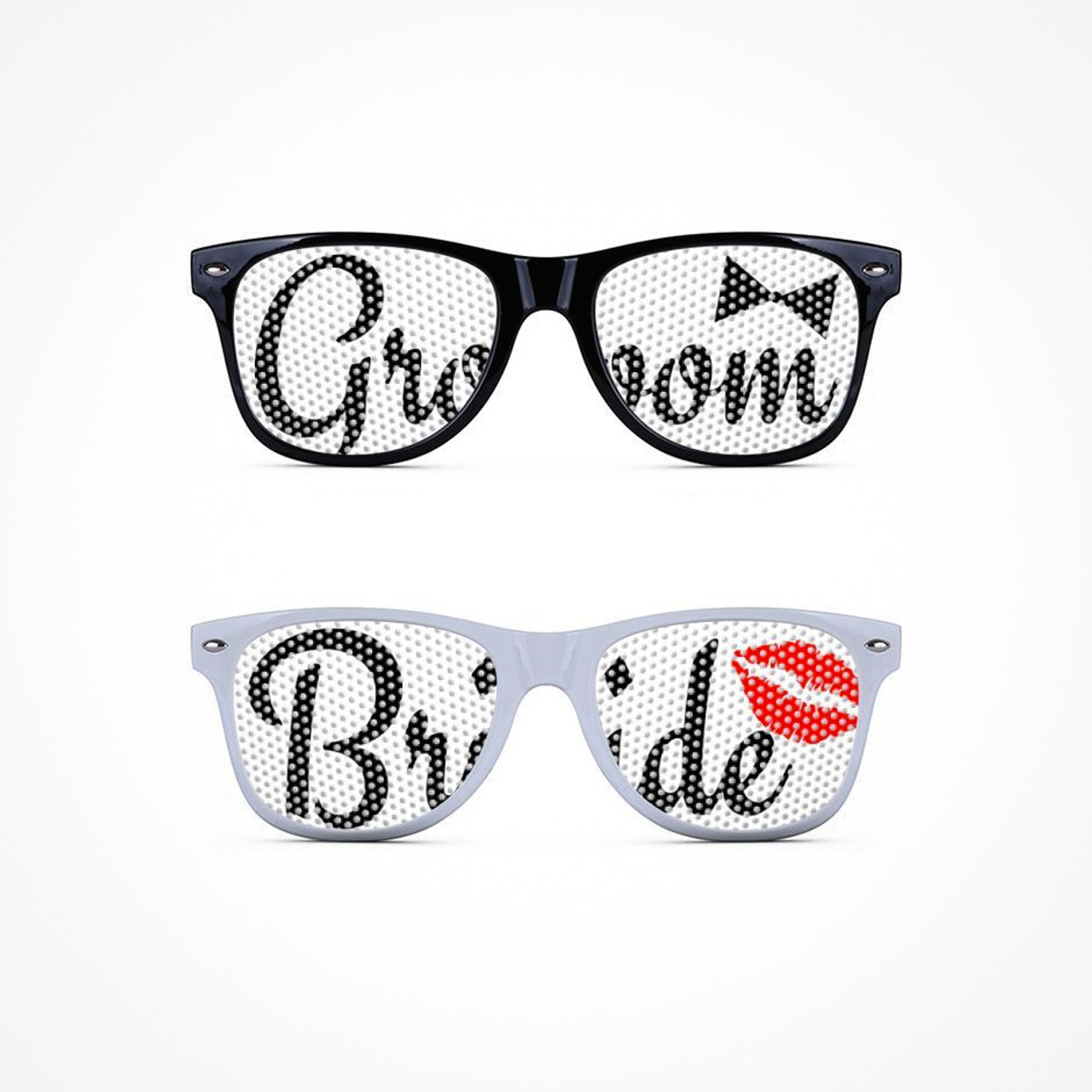 e0f4d34af6f Mesh sunglasses with printed words Bride and Groom