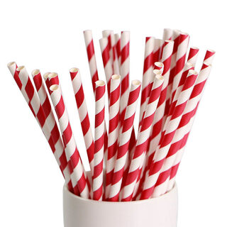 Paper Straws - Red/White - Drinking Straw biodegradable compostable eco-friendly