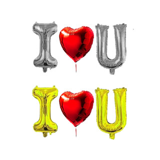 "I <3 U Balloon Red 30""inch Heart Balloon with 40""inch Gold or Silver Letters romantic love celebration"