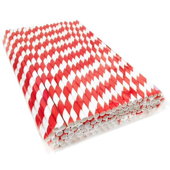 Paper Straws Red White Eco-Friendly Drinking Straw 6mm Dia x7.75 L-250pcs