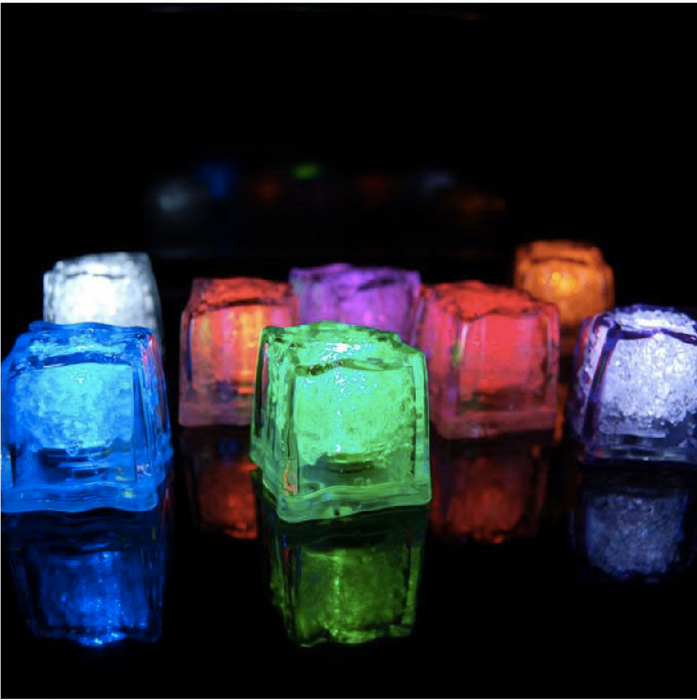 LED color changing or solid white plastic ice cube
