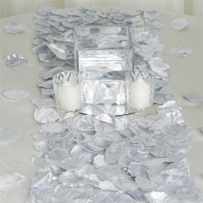 Silver Silk Rose Petals (100 Pieces)