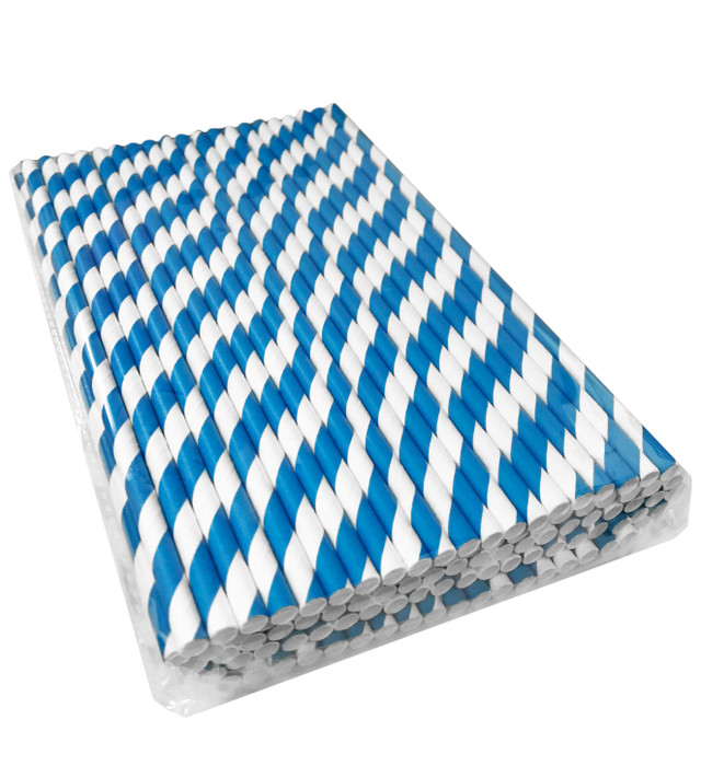 Paper Straws - Blue/White - Drinking Straw biodegradable compostable eco-friendly