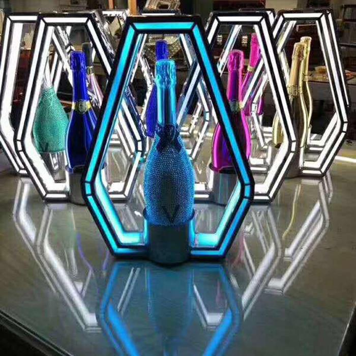 LED Bottle Presenter Unique Polygon (Remote Control Color Changing)
