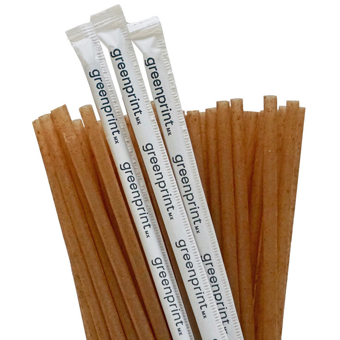 Agave Straws Individually Wrapped Plant Based Restaurant Bulk