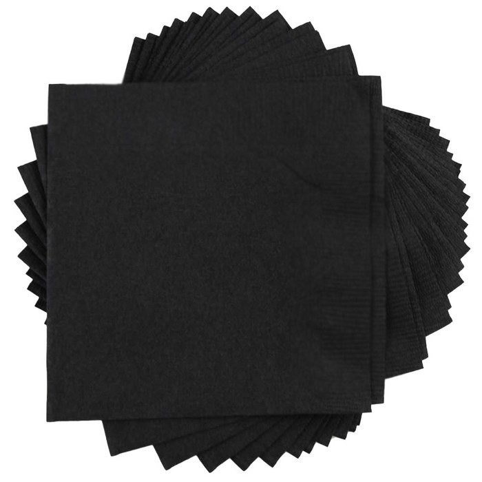 Black Beverage Napkin 2 Ply Paper bulk cocktail drink napkins wholesale restaurant club