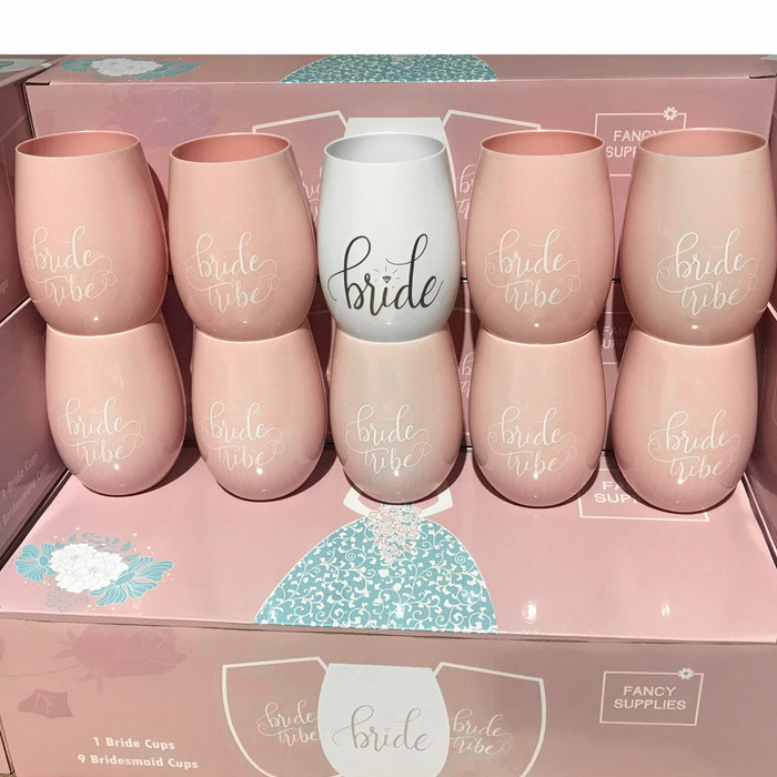10 Pink Stemless Wine Cups 1 Bride + 9 Bride Tribe Glasses Pink White plastic bachelorette (Set of 10)