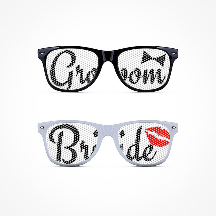 Mesh sunglasses with printed words Bride and Groom