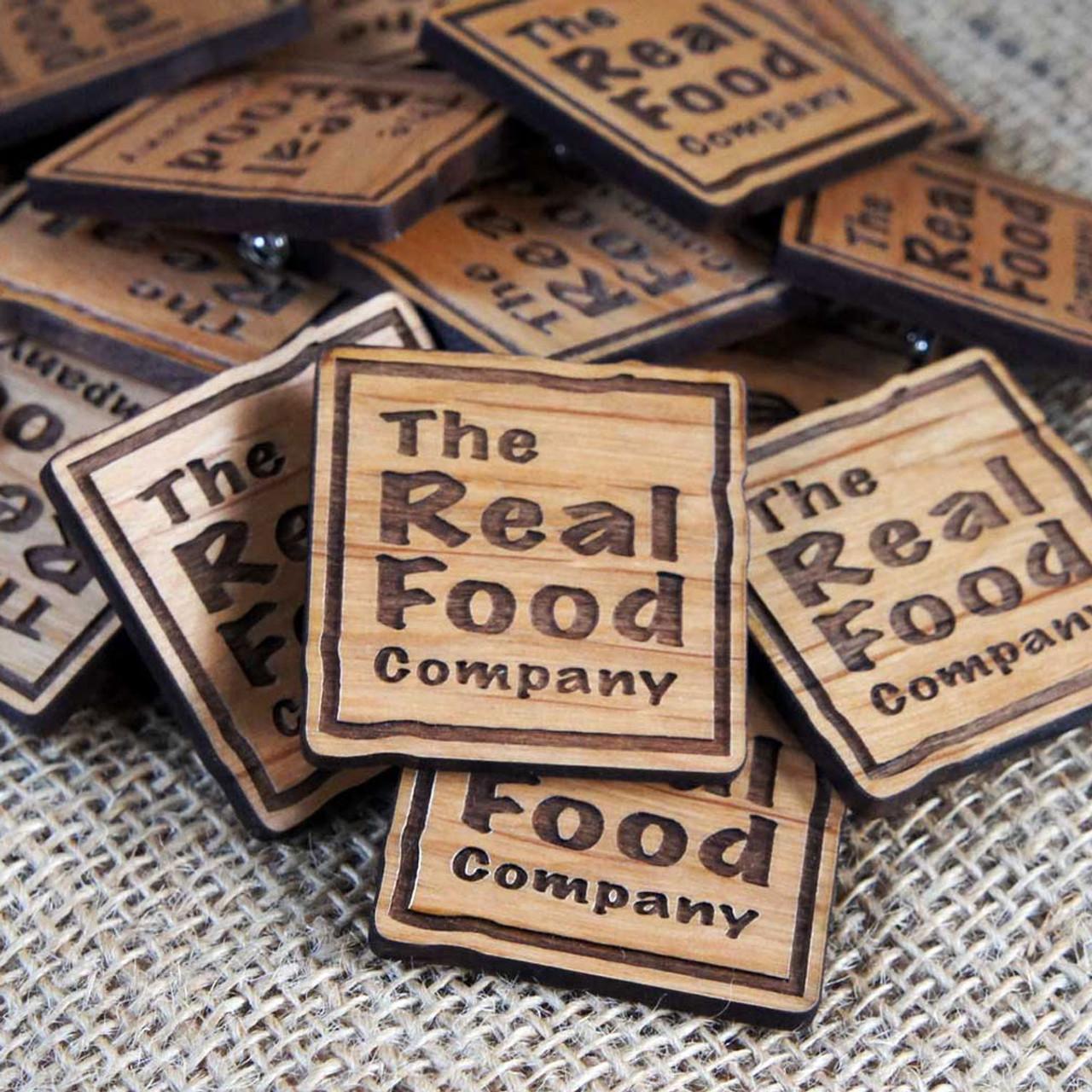 Personalised wooden badges - engraved alderwood