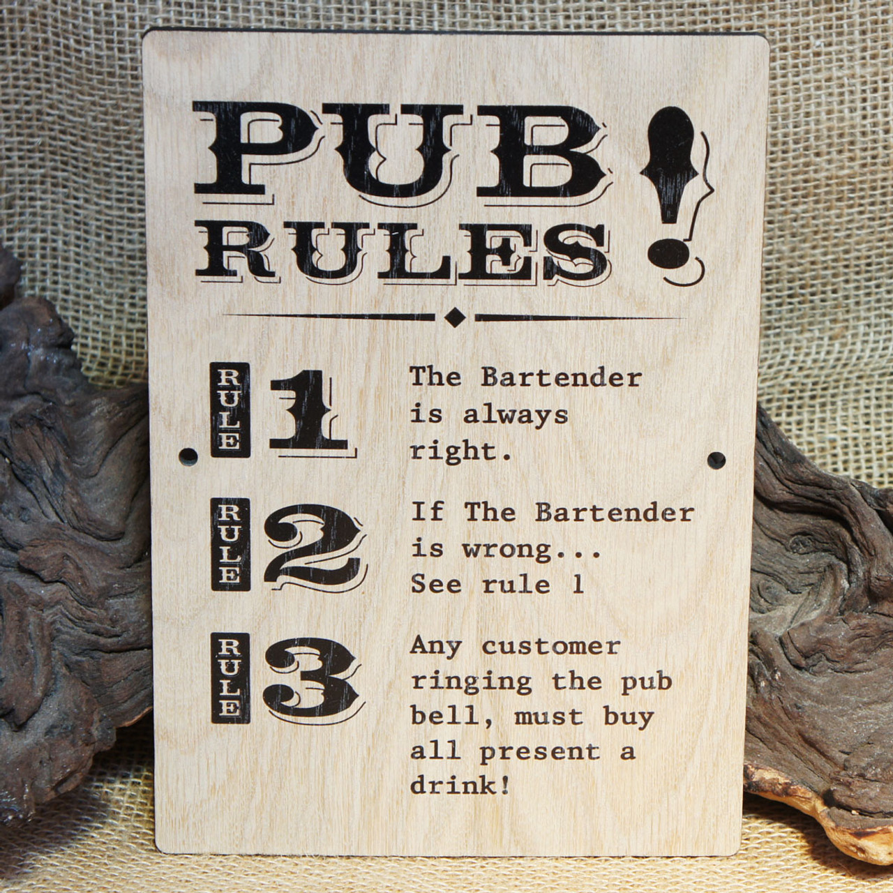 Wooden Pub Sign (Pub Rules)