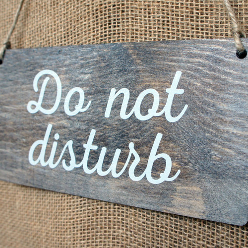 """Wooden """"Do Not Disturb"""" Door hanger signs.  Rope fixings.  Sign is dark oak stained pine with white wash and printed graphics.  Can be personalised."""