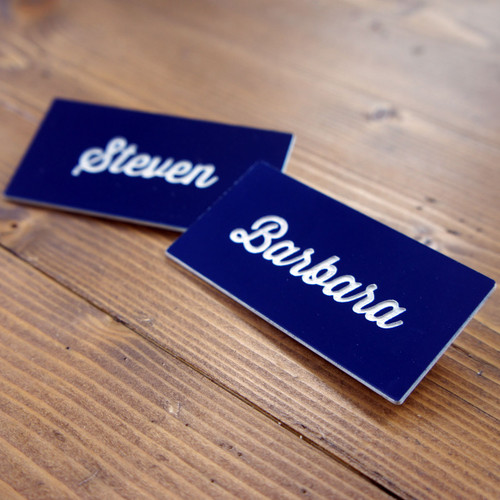 Engraved (laminate) badges with either a pin or magnetic fixing