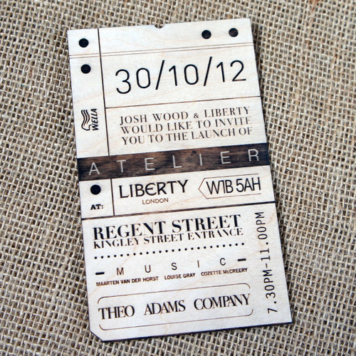 Engraved Wooden Event Invitations - engraved into birch ply