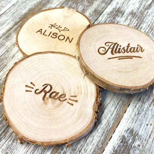 Log slice coaster - natural place setting for weddings and events