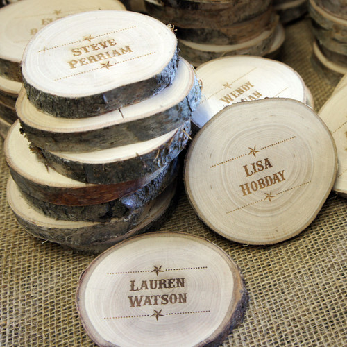 Wood Slice Coaster - personalised wooden place setting