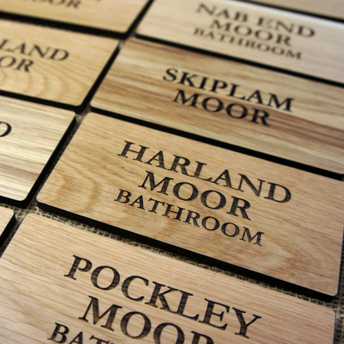 5mm thick oak door signs - ideal internal signs for hotels, pubs, B&Bs.