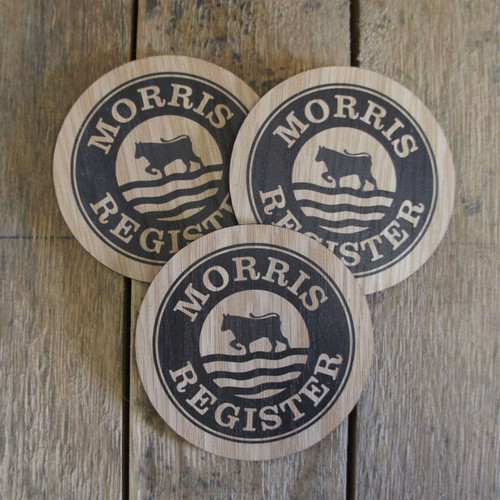 Printed oak veneer coasters - ideal for gifts and promotions