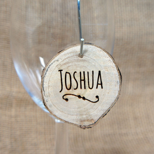 Engraved Rustic Wood Slices - personalised wooden place setting