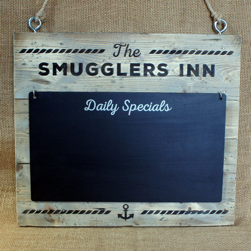 """Distressed Wooden Signs - engraved 19mm thick wooden sign with detachable blackboard """"Daily Specials"""" blackboard giving a vintage, rustic look."""