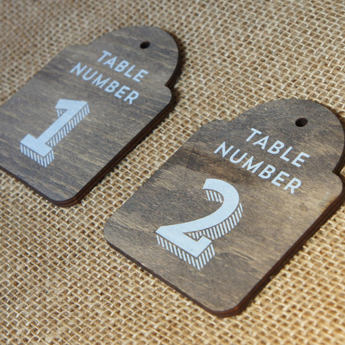 Colour printed Table Number tags, printed onto 3mm pine ply.
