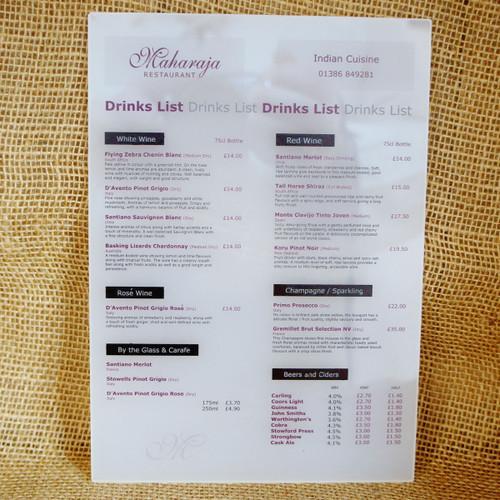 Acrylic printed menu - menu printed onto opal frosted acrylic