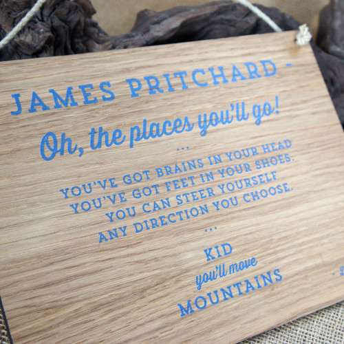 4mm oak veneered mdf sign - your sign design can be printed full colour onto 4mm thick wooden sign