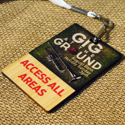 Wooden Printed Lanyards / Membership / ID cards - Photo shows full colour print onto 3mm thick bamboo