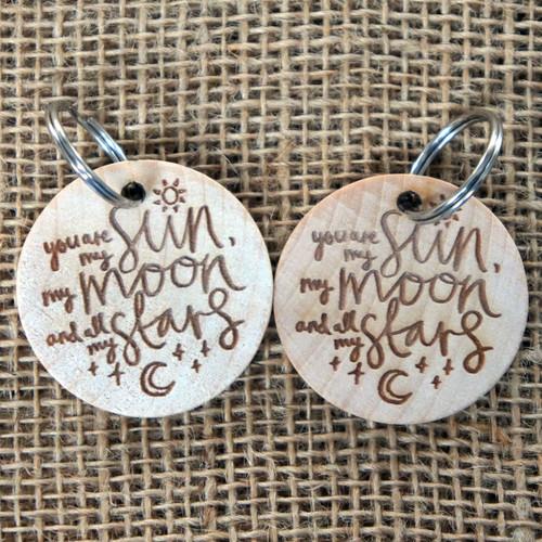 Printed wooden keyrings with split ring