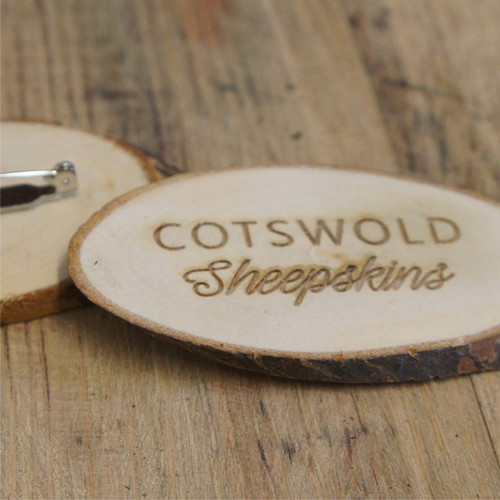 Engraved rustic wood slice badge with pin attachment