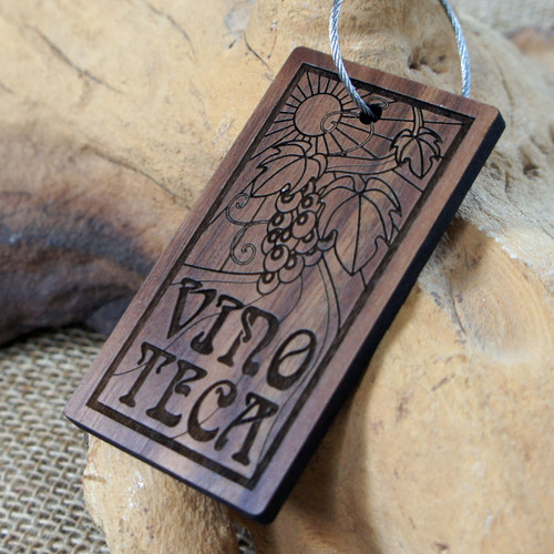 Engraved Walnut Wood keyrings 5mm to 6mm thick - shown with screw connector.  Ideal promotional gifts for businesses and events.