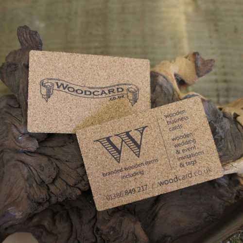 Cork business cards printed on 1.5mm Cork.