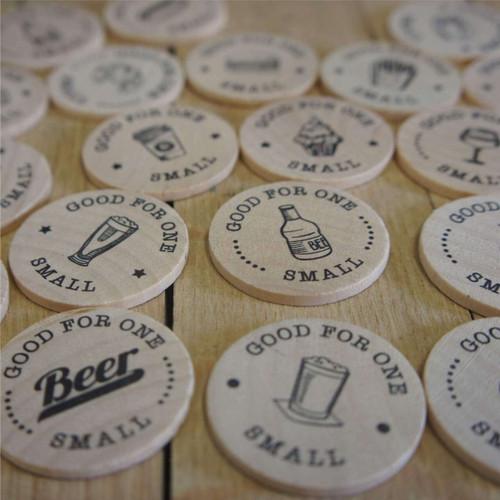 Wooden printed Beer, coffee, food, wine tokens etc.