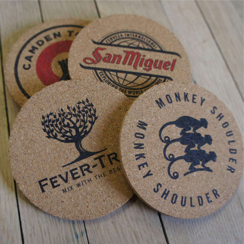 95mm diameter printed cork coasters - ideal promotional gifts