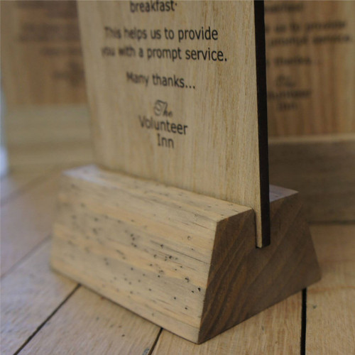 A self standing wooden printed table top sign.  All of the artwork is printed onto 4mm oak veneered mdf.  Self standing signs available in a number of sizes.